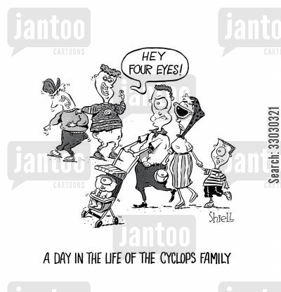 day in the life cartoon humor: A Day In The Life Of The Cyclops Family.