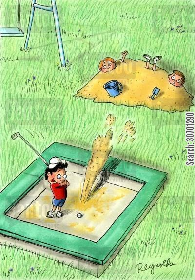 sandpits cartoon humor: Kid playing golf in the sand pit.