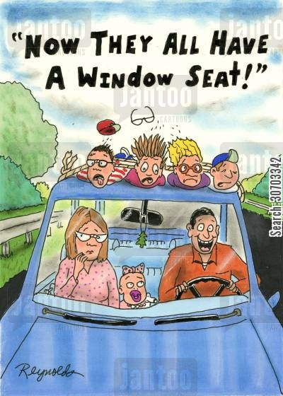 sun roof cartoon humor: 'Now they all have a window seat!'