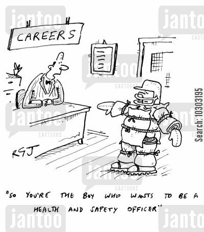 careers advice in school cartoon humor: 'So you're the boy who wants to be a health and safety officer.'