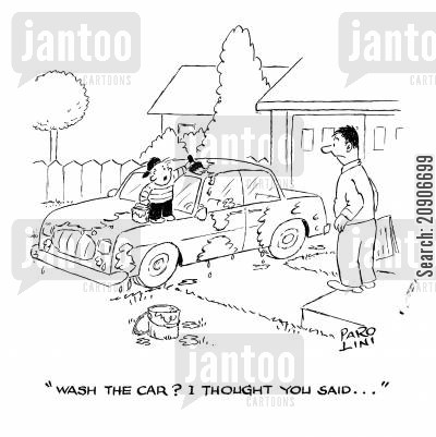 earning pocket money cartoon humor: 'Wash the car? I thought you said...'