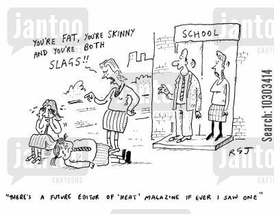 celebrity magazine cartoon humor: 'There's a future editor of Heat magazine if every I saw one.'