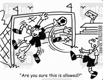soccer match cartoon humor: 'Are you sure this is allowed?'
