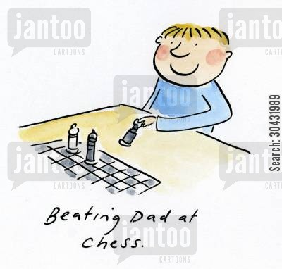 chess games cartoon humor: Beating Dad at Chess.