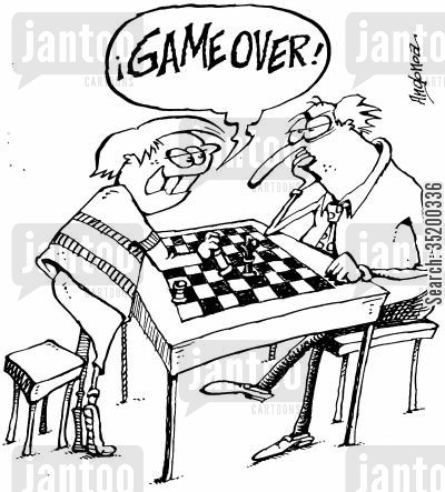board game cartoon humor: Game Over. - Son beating father at chess.