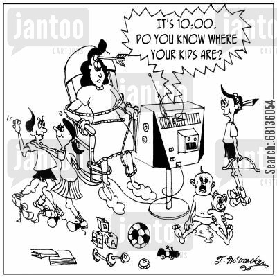 baby sitting cartoon humor:  'It's 10:00. Do you know where your kids are?'