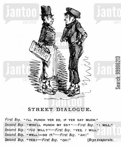 conflict cartoon humor: A conversation between two street urchins.