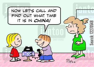 phone bills cartoon humor: 'Now let's call and see what time it is in CHINA!'
