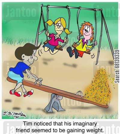 school ground cartoon humor: Tim noticed that his imaginary friend seemed to be gaining weight.