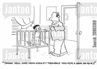 intelligent child cartoon humor: 'Thank you...and now could I trouble you for a ham on rye?'