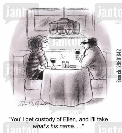 marriage breakdown cartoon humor: 'You'll get custody of Ellen, and I'll take what's his name. . .'