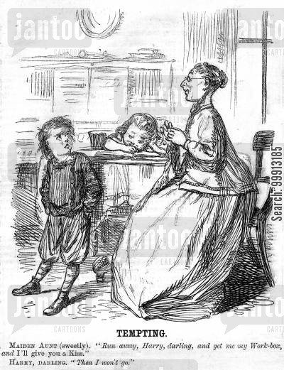 relative cartoon humor: Boy doesn't want a kiss from his aunt