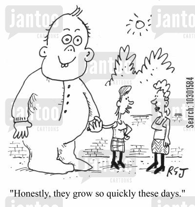 growth spurts cartoon humor: 'Honestly, they grow so quickly these days.'