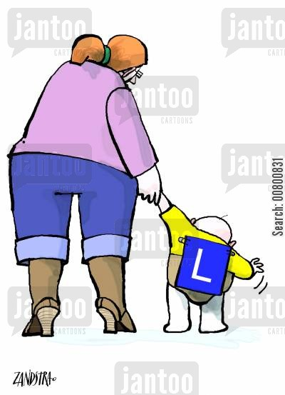 new babies cartoon humor: Baby with L plate.