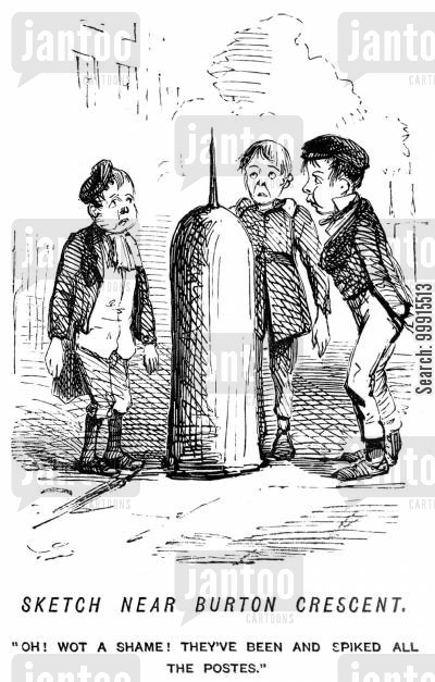 bollard cartoon humor: Boys looking dissapointed at a spiked post