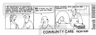 killing two birds with one stone cartoon humor: STRIP *Community Care *  Family-friendly policies