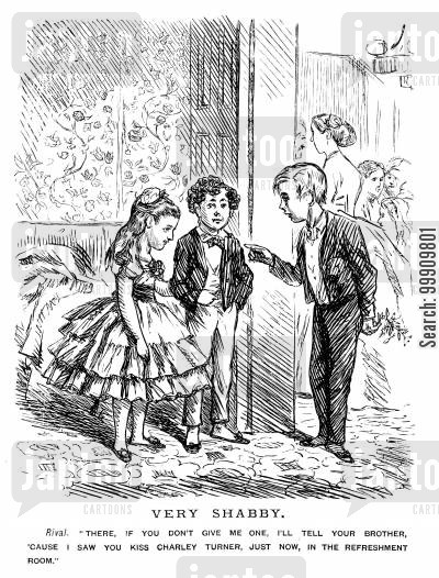 mistletoe cartoon humor: Children at a Party