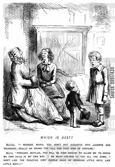 age cartoon humor: A mother who dresses her young boy in man's clothes and one who dresses her older boy in shildren's clothes.