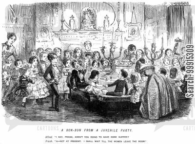 juvenile party cartoon humor: A boy saying he will wait for the women to leave the room before he eats