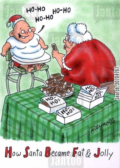 fat cartoon humor: How Santa became Fat and Jolly.