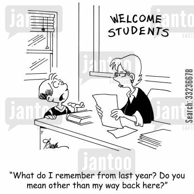 school years cartoon humor: 'What do I remember from last year? Do you mean other than finding my way back here?'