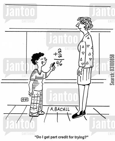 math teacher cartoon humor: 'Do I get part credit for trying?'