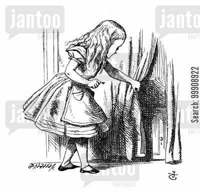 children's classics cartoon humor: Alice in Wonderland: Alice finds a small door.