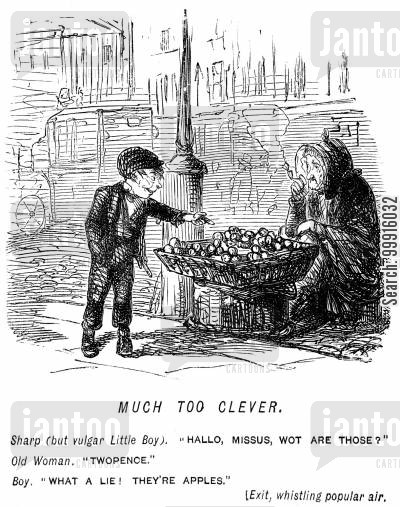audacious cartoon humor: Boy being clever to a woman selling apples