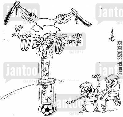 naughty children cartoon humor: Clown balancing on various objects looks with worry at the two children eyeing up the football supporting it all
