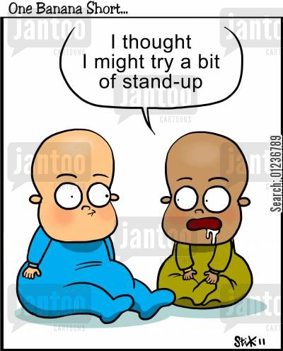 developments cartoon humor: 'I thought I might try a bit of Stand-up.'