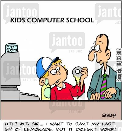 computer technician cartoon humor: 'Help me, sir... I want to save my last sip of lemonade, but it doesn't work!'