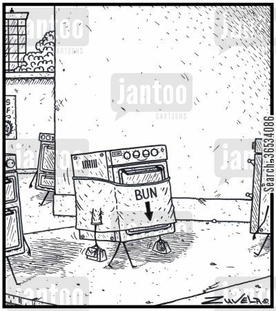buns cartoon humor: An expecting Oven wearing a 'Baby here, arrow t-shirt' saying BUN