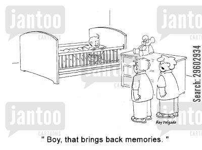 ageing cartoon humor: 'Boy, that brings back memories.'