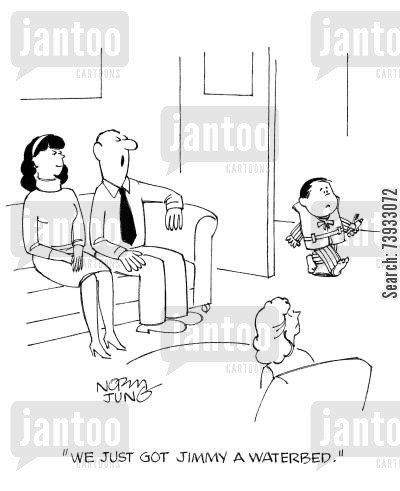 life jacket cartoon humor: 'We just got Jimmy a waterbed.'