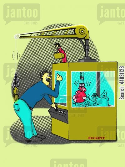 arcade game cartoon humor: A man is excited for capturing a toy from a skill crane while at the same time is being robbed of his wallet by a miniature man using a crane to steal it from him.