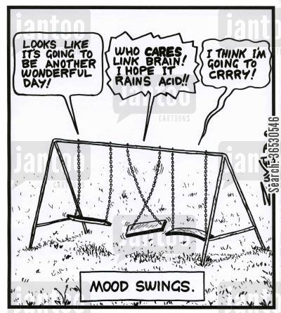 play areas cartoon humor: Mood swings:  Swing 1 - 'Looks like it's going to be another wonderful day!' Swing 2 - 'Who CARES link brain! I hope it rains acid!!' Swing 3 - 'I think i'm going to CRRRY!'