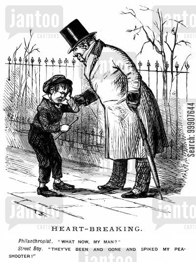 street urchins cartoon humor: Heart-Breaking.