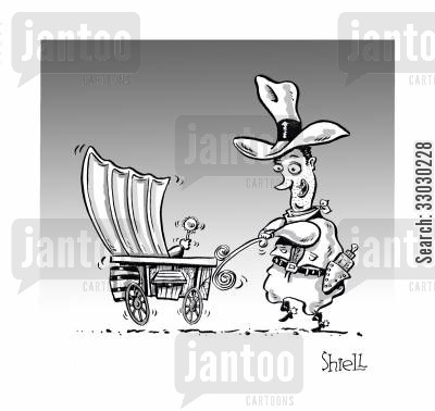 covered wagon cartoon humor: Cowboy Baby.