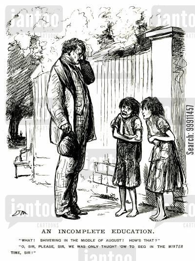 impoverished cartoon humor: Begging cildren shivering in summer
