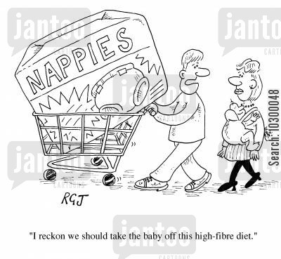 highfibre cartoon humor: Baby's high fibre diet