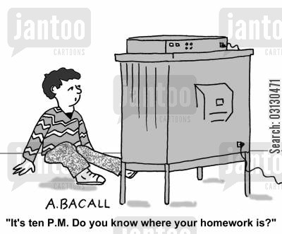 do you know where your children are cartoon humor: It's 10pm...do you know where your homework is?
