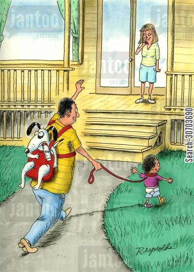 tired parents cartoon humor: Father walking toddler and carrying dog in pouch.