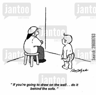 punished cartoon humor: 'If you're going to draw on the wall... do it behind the sofa.'
