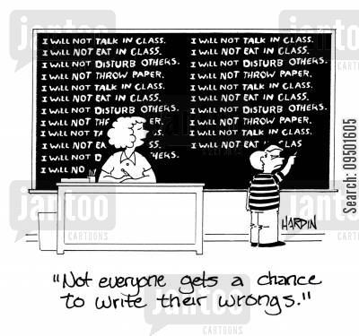 tell off cartoon humor: 'Not everyone gets a chance to write their wrongs.'