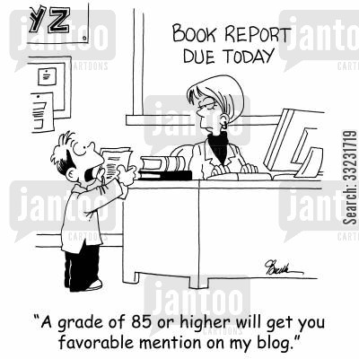 homework grade cartoon humor: 'A grade of 85 or higher will get you favorable mention in my blog.'
