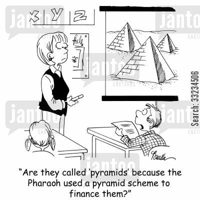 pyramid scheme cartoon humor: 'Are they called 'pyramids' because the Pharaoh used a pyramid scheme to finance them?'