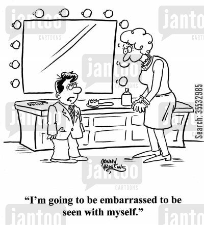 special occasions cartoon humor: Kid all dressed up: 'I'm going to be embarrassed to be seen with myself.'