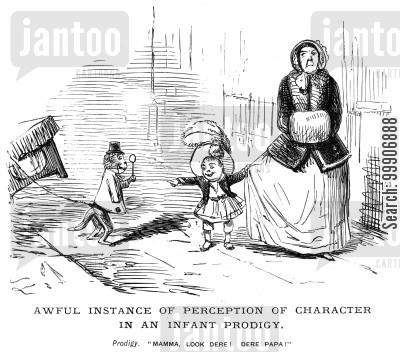 ancestors cartoon humor: A mother and child looking at a monkey