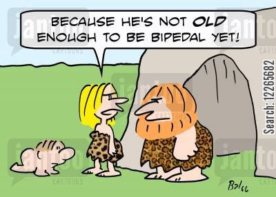 bipedalism cartoon humor: 'Because he's not OLD enough to be bipedal yet!'