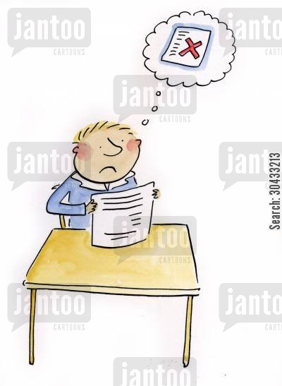 a level cartoon humor: Exam panic.